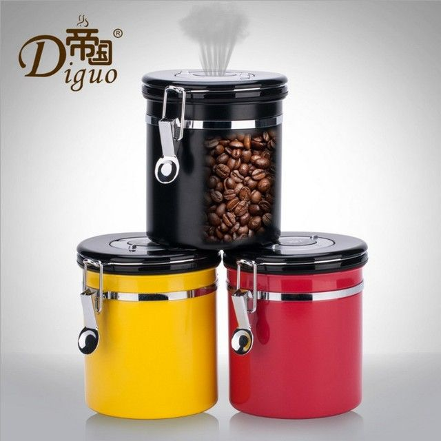 1.2L Coffee Tea Sugar Storage Tanks Sealed Cans 18/8 Coffee Canister Airtight Stainless Steel Vacuum Seal Storage Bean Container