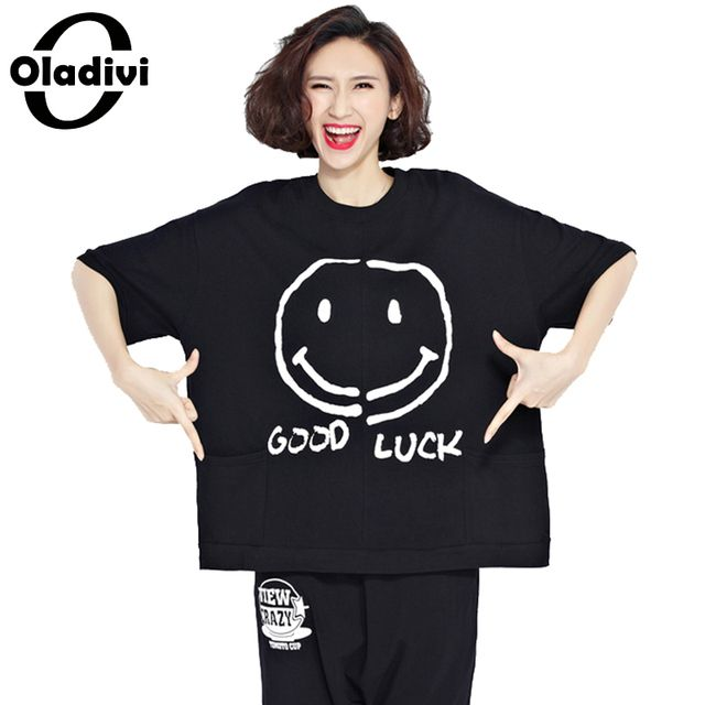 Oladivi Summer Women T-Shirt Plus Size Smile Print Cotton Tops Female Fashion Short Design Tees Shirts Casual Loose Tunics Black