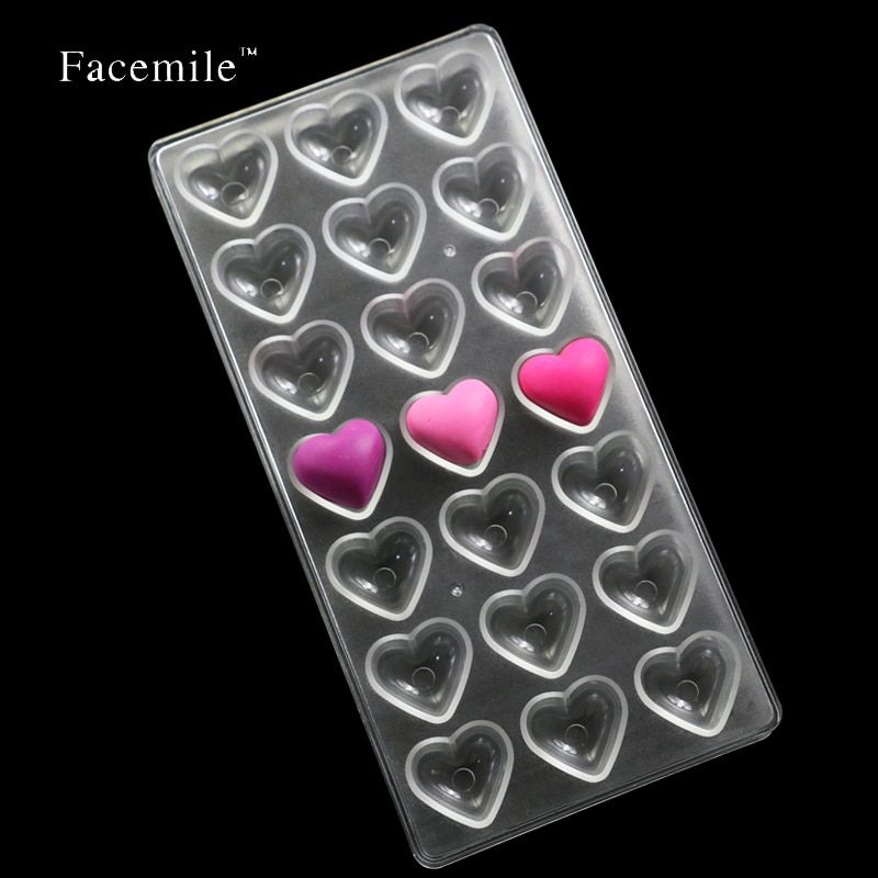 Loving Heart Shaped Candy Molds Polycarbonate Chocolate Mold Tray Pudding Mould Plastic Chocolate Tools 54010 Gift