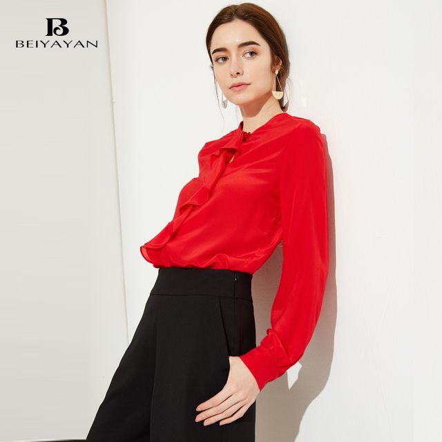 BEIYAYAN Red Color 100% Silk Ruffles Women Shirts Office 2017 New Fashion Long Sleeve Solid Blouses for Women