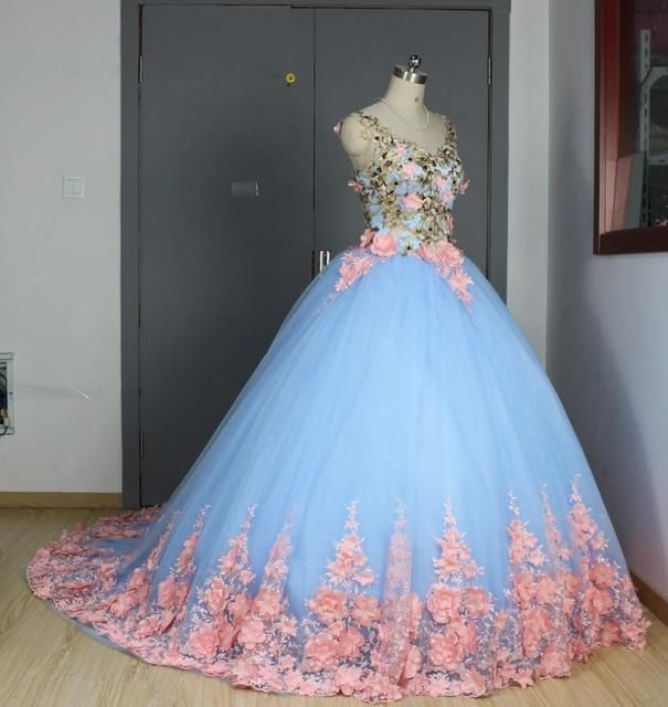 Baby Blue 3D Floral Masquerade Ball Gowns 2017 Cathedral Train Flowers Debutante Quinceanera Dresses Sweety Girls 15 Years Dress