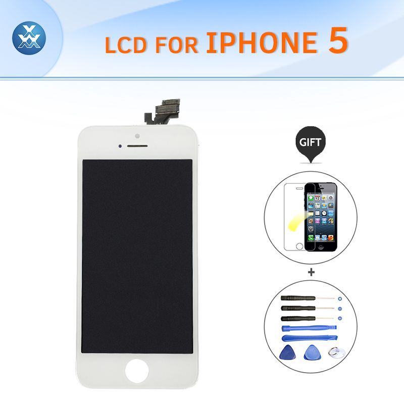 Best quality LCD for Apple iPhone 5 Original LCD display touch screen digitizer glass bezel assembly black white 4 pantalla+tool