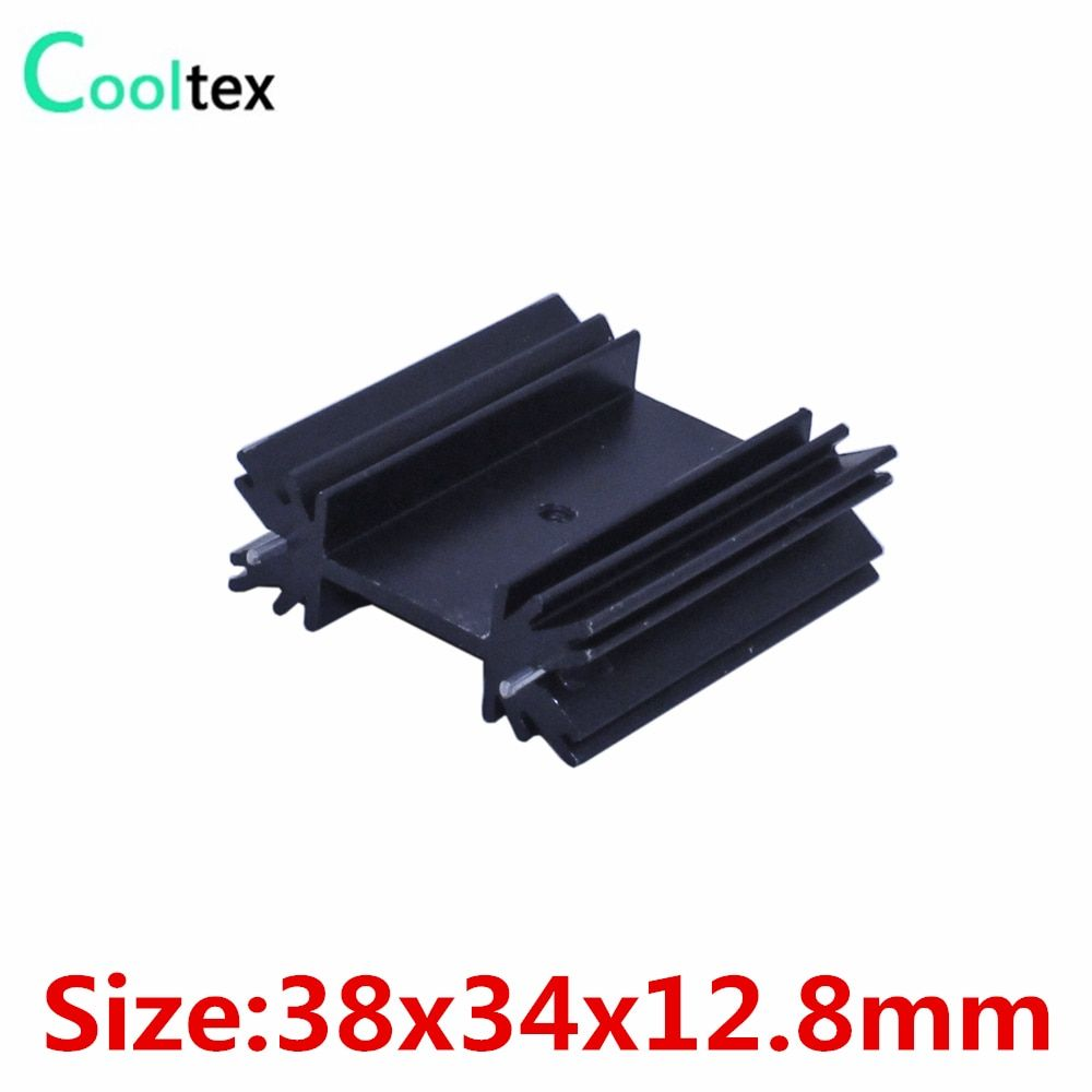 100pcs/lot 38x34x12.8mm TO220 TO-220 heatsink heat sink radiator for IC triode 7805 MOS cooling