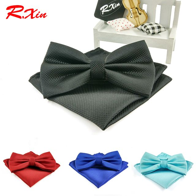 New 2016 fashion bowtie men vintage wedding dress suits bow tie pocket square handkerchief set lote butterfly