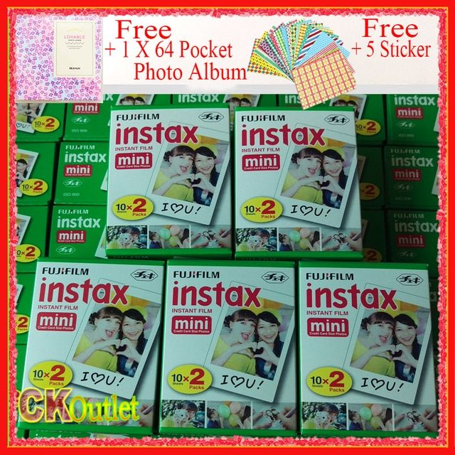 Genuine 100 Sheets Fujifilm Instax Mini 8 9 Film VALID UNTIL 2019-10+Free Photo Album Sticker for Polaroid Mini Camera 7S 70 90