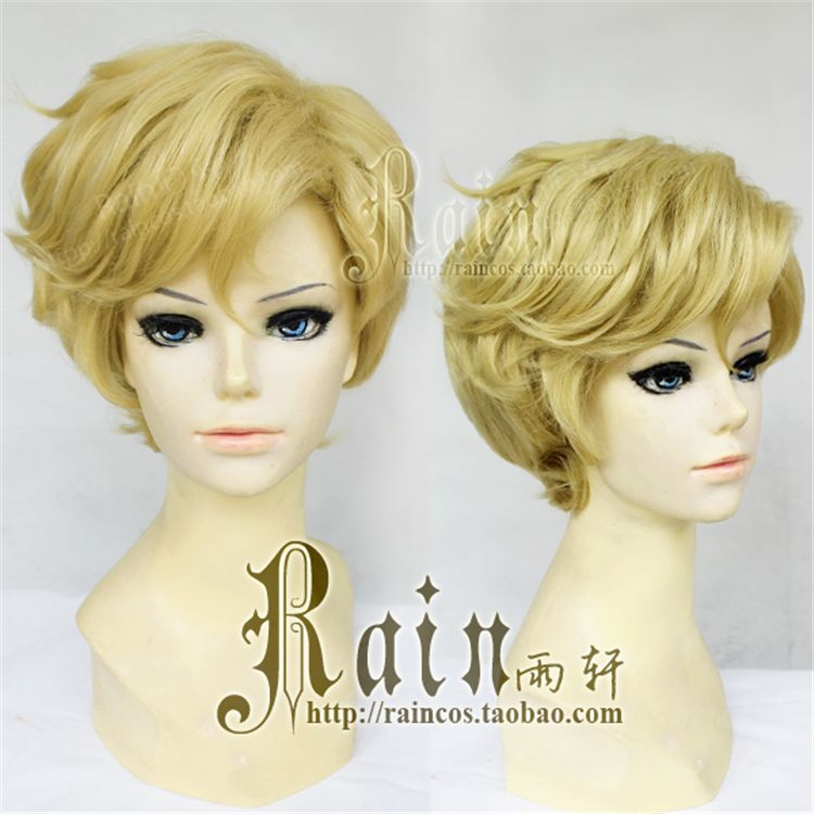 Free Shipping Anime Sailor Moon Sailor Uranus Cosplay Synthetic Wig Tenoh Haruka Short Golden Yellow Cosplay Wig Heat Resistance