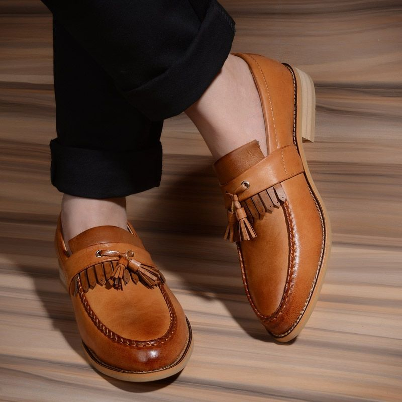 Hot Sale Men's Shoes Slip On Tassel Genuine Leather Flat Shoes Brand Dress Leather Oxford Shoes Men Loafers Wedding Shoes