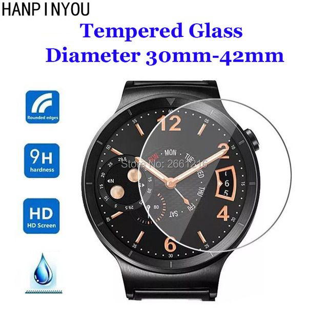 For Diameter 30mm - 42mm SmartWatch Tempered Glass 9H 2.5D Premium Screen Protector Film 23 31 32 33 34 35 36 37 38 39 40 41 mm