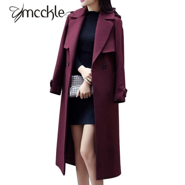 Women's Extrem Long Woolen Coats Blends 2016 Autumn Winter Fashion Elegant British Style Wool Coat Jackets With Blet Overcoat