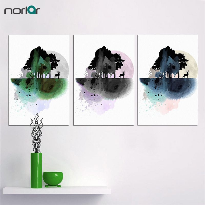 Modern Scandinavian Minimalist Style Canvas Painting Watercolor Forest Elk Wall Printed for Bedroom Decorative Unframed