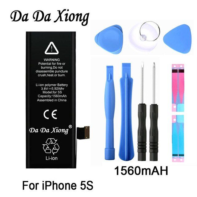 Original Da Da Xiong Battery For Apple iPhone 5C 5S 5GS 1560mAh Real Capacity With Machine Tools Kit Replacement Batteries