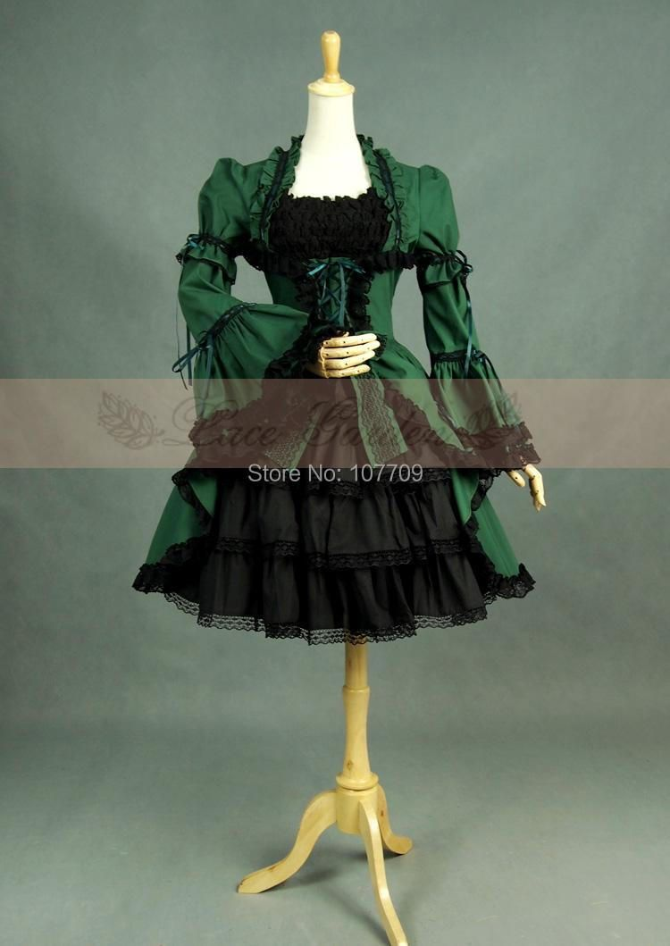 Ladies Victorian Lolita  Women Cos Anime Cosplay Costume Uniforms Gothic Palace Princess Retro Olive Green Mix Black Dress