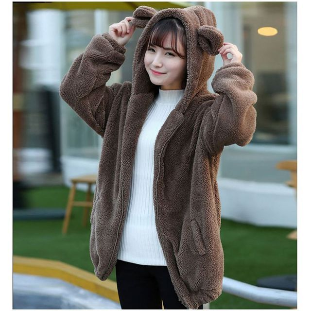Autumn Winter Women Hoodies Zipper Girl Winter Loose Fluffy Bear Ear Hoodie Hooded Jacket Warm Outerwear Coat cute sweatshirt