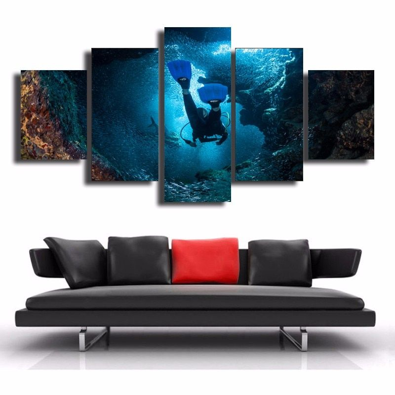5 Panel Printed Canvas Picture Flower Painting Wall Art Home Decor Landscape Sea Picture Modular Picture Framed Poster And Print