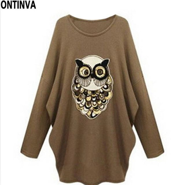 2017 Spring Owl Sequin T Shirt Women Casual Blusa Oversized Shirts Womes 5XL Plus Size Tops Femme Punk Rock Fashion Tee Shirt