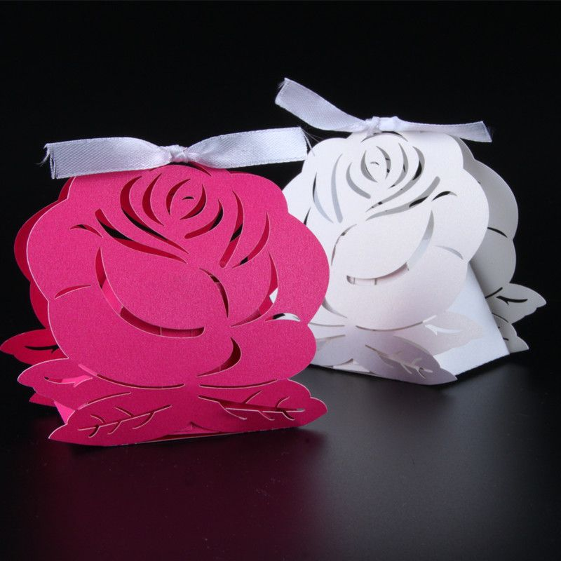 50pcs Dark Rose Pink/White Big Rose Flower Laser Cut Candy Box Wedding Favor Gift Box Wedding Favor And Gift Wedding Decoration