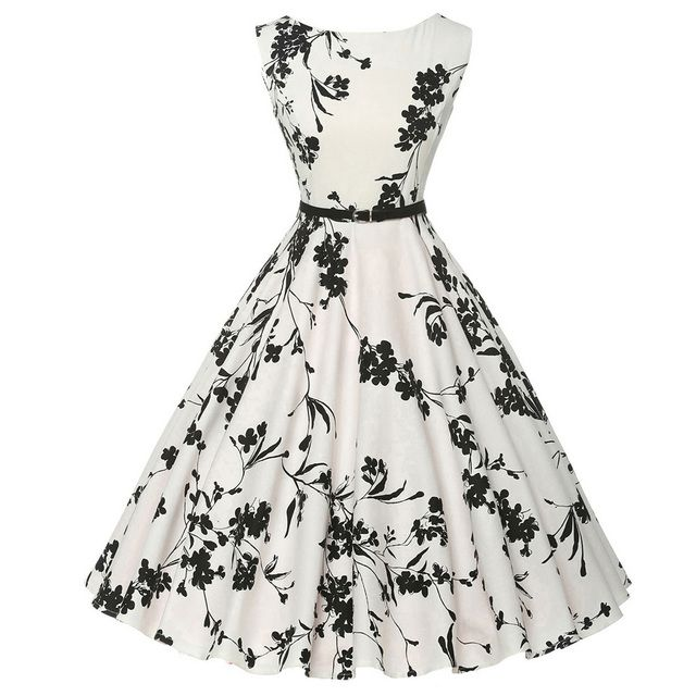 Women Summer Dress 2018 plus size clothing Audrey hepburn Floral robe Retro Swing Casual 50s Vintage Rockabilly Dresses Vestidos