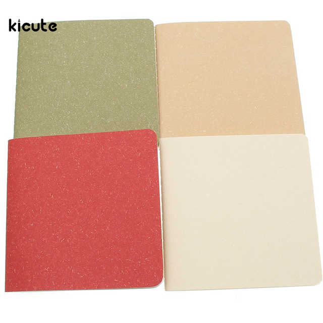 1Pcs Lovely Retro Style Solid Color Notebook Paper Notepad Pockets Notepad Diary Sketchbook Stationery Office School Supplies