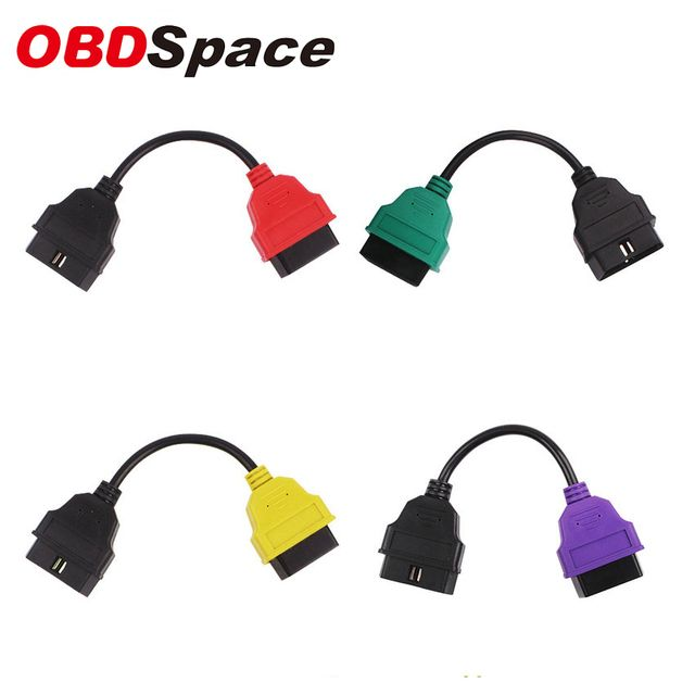 OBDSPACE 2017 for Fiat Ecu Adaptor for Fiat Connector OBD2 16Pin 16 Pin OBD Cable for Fiat Four Colors (4 Pieces/ Set)