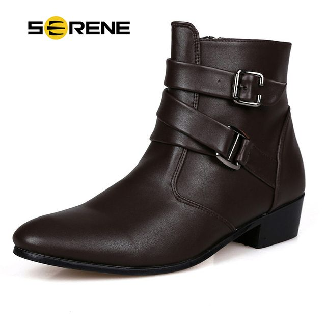 SERENE Brand Autumn Winter Man Warm Ankle Boots Size 39-44 Black / White Adult Men Suede Leather Casual Boots Warm Fur Boots