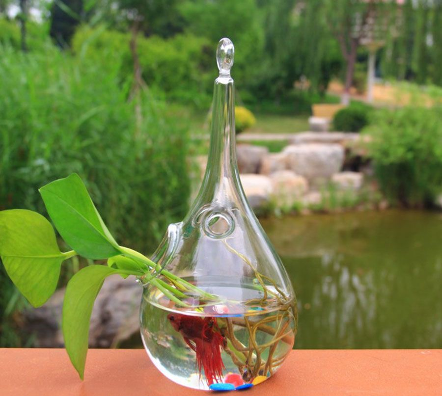 home decoration Drop transparent glass fish tank hydroponics vase modern fashion home vase accessories decorative vase