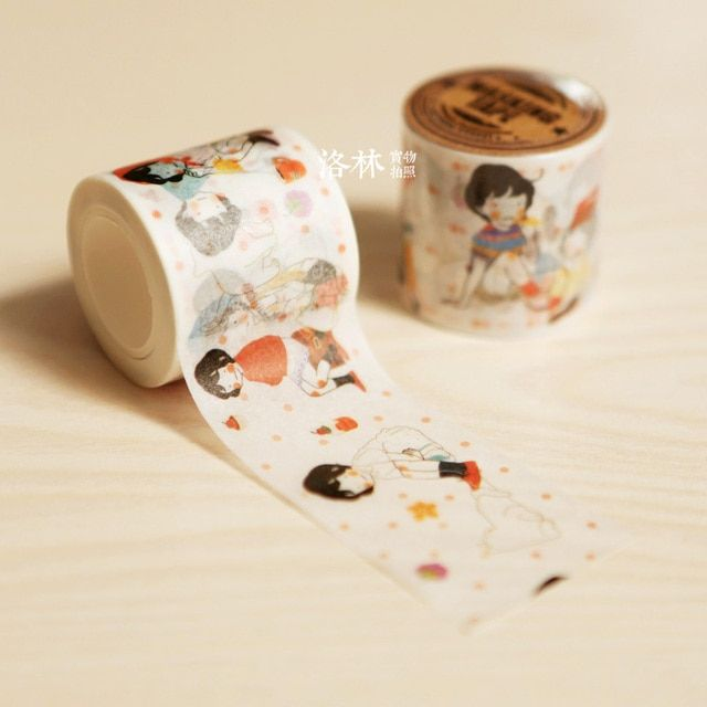 Free shipping washi paper tape Self-restraint paper tape diy girls wrapping labeling diary decoration notebook deco masking tape
