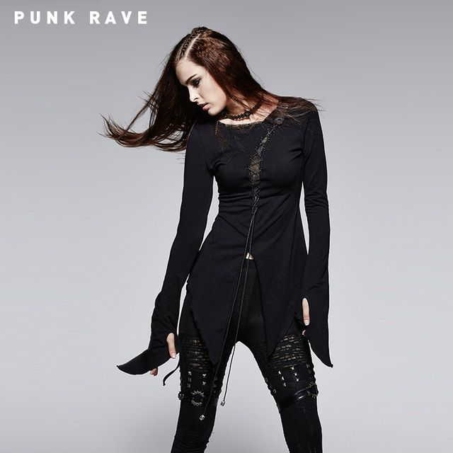 Punk Rave Spring Fashion Women 100% Soft Cotton Long Sleeve PUNK Asymmetric T-shirt T-377