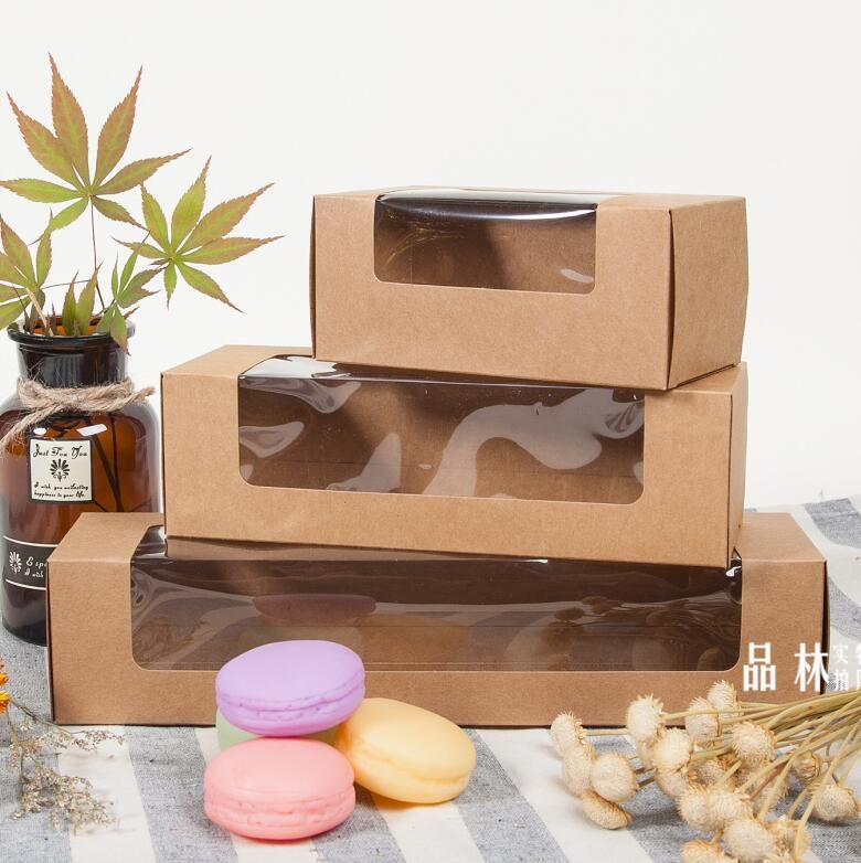 1-18 Joy, kraft paper box,brown paper gift box with clear window,Macaron food packaging