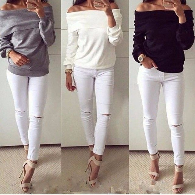 2016 New Fashion Women Sexy Off Shoulder Hoodies Sweatshirt Ladies Long Sleeve Solid Casual Slash Neck Jumper Pullover Moletom