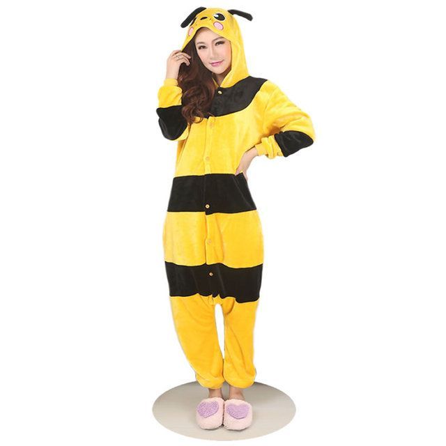 2017 New Winter And Autumn Bee Unisex Adults Casual Flannel Hooded Pajamas Sets Cosplay Cartoon Cute Animal Onesies Sleepwear PJ