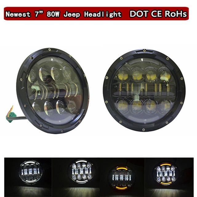 For Jeeps Accessory 7 INCH round LED Headlights Car LED Projector for JEEP Wrangler 4x4 Offroad Halo Ring Angle eyes