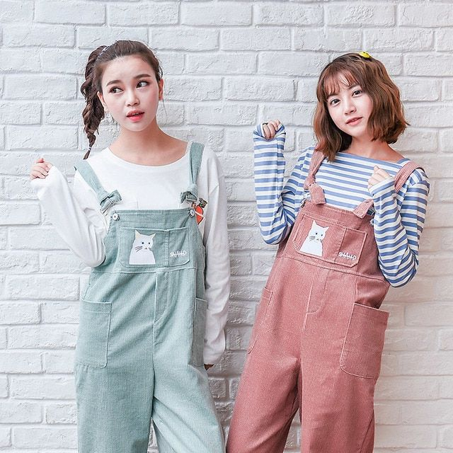 Corduroy overalls lovely relaxed casual retro wide leg pants Ankle-length pants mori girl 2016 spring with cute cat