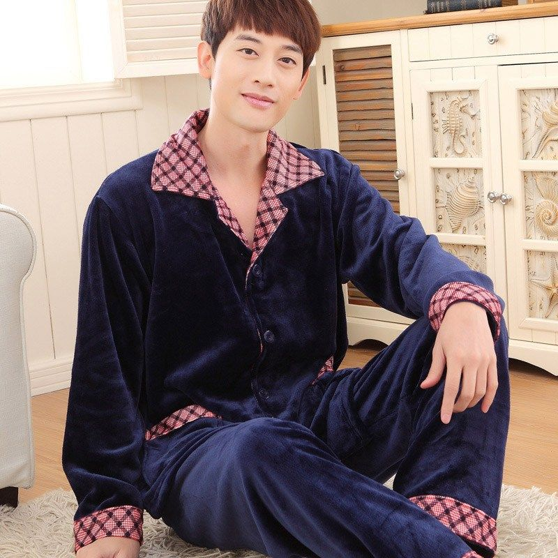 Hot Sales Men Sleepwear Winter Warm Pajamas Sets of Sleep Tops & Bottoms Thermal Nightwear Soft Flannel Nightclothes