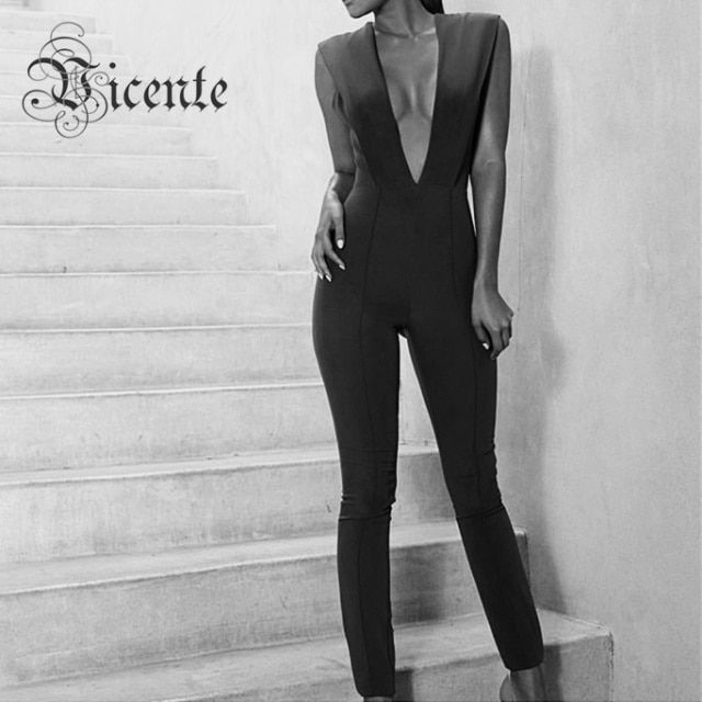 2016 New Free Shipping! Hottest Deep Vneck Plunge Bodycon Jumpsuit Women Bodysuit