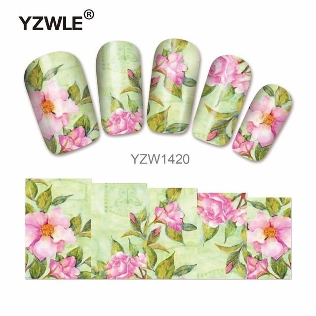 YZWLE 1 Sheet Flower Designs DIY Decals Nails Art Water Transfer Printing Stickers For Manicure Salon