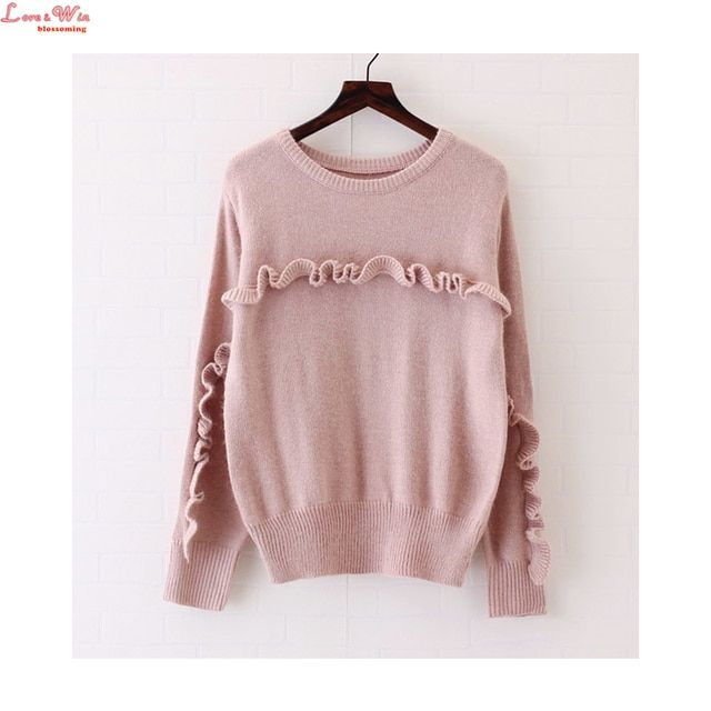 Soft Fluffy Round Collar Woollen Ruffles Pullovers Jersey New Winter Warm Women Long Sleeve Popular Sweaters Maglia