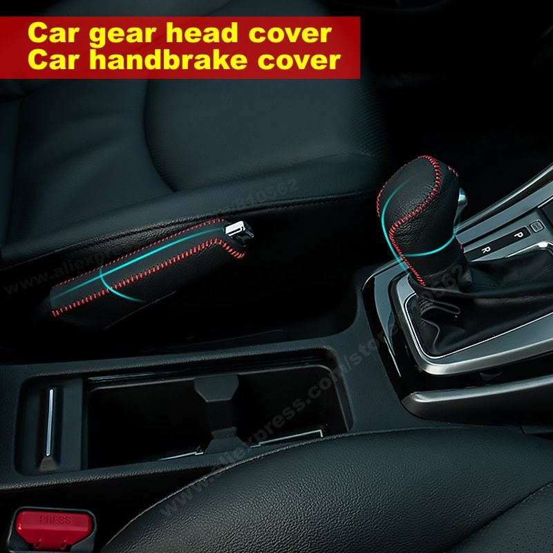Car leather gear cover Suit for 206 207 301 307 308 408 508 2008 3008 4008 refit gears genuine leather handbrake cover