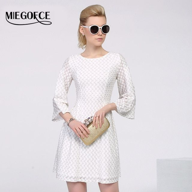 Women's Elegant Dresses 3/4 sleeved Lace Dress High Quality Slim Office Casual Dress European Style MIEGOFCE Summer Women Dress