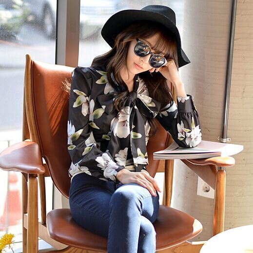 Original New 2016 Brand Blusas Femininas Autumn Black Printed Bow Shirt Woman Slim Vintage Women Blouse Wholesale