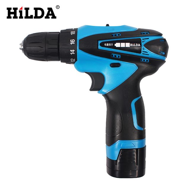 HILDA 16.8V Cordless Screwdriver Electric Drill Two-Speed Rechargeable 2pcs Lithium Battery Waterproof Hand LED Light
