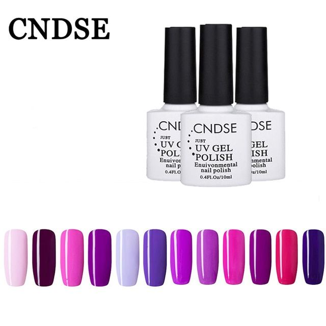 CNDSE Gel Nail Polish UV Color Gel Romantic Purple Series Lasting Shine Soak-off Nail Gel Vernis Semi Permanent Lamp DIY Nail