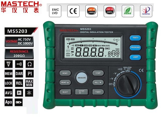 Mastech MS5203 Digital Megger Insulation Tester Resistance Meter Tecrep 10G 1000V AC/DC Voltage Continuity Electrical Test