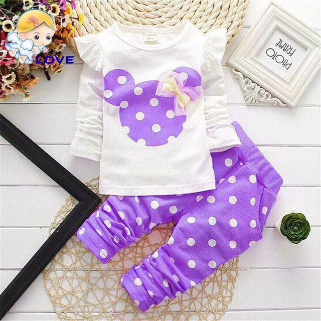 SL-07 Baby Sets Dot Long Sleeve Cotton Toddler Baby Girl Clothes Children Set Bowknot T-Shirt+Pant Summer