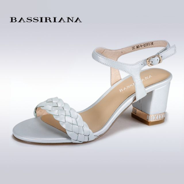 BASSIRIANA - genuine leather classic heels sandals for women, buckle strap women's summer shoes, 35-40, free shipping