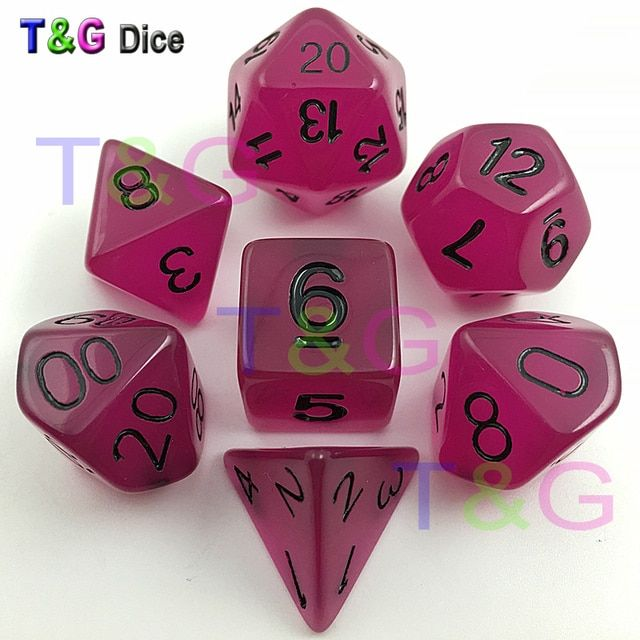 7pc/lot High Quality Lavender Glow Dice D4,6,8,10,10%,12,20 Set Light dnd dice game