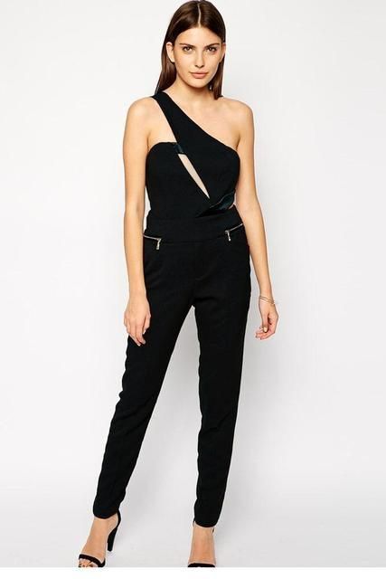 2016 New Summer Fashion Womens Jumpsuit One Shoulder Slopping Shoulder Cutout Romper Black Long Pants Overalls Zipper Detailed P