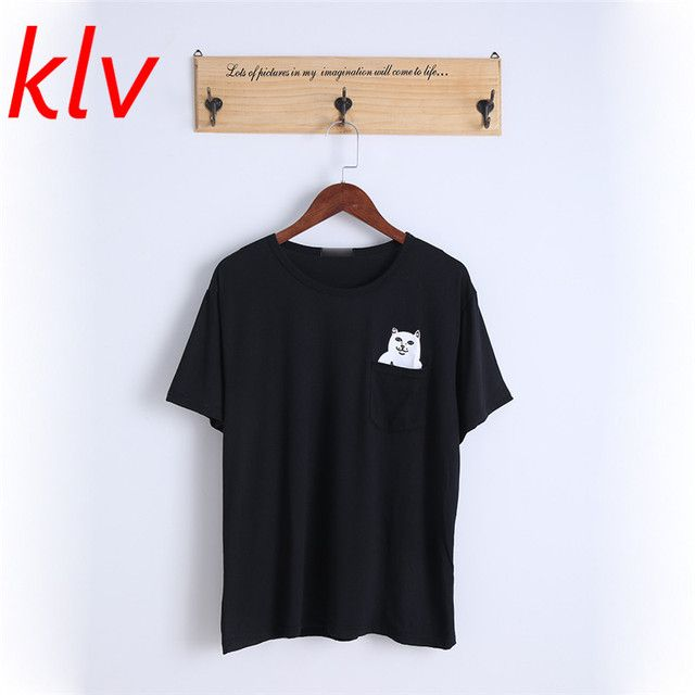 KLV 2017  Women Summer Style T Shirt Print Middle Finger Pocket Cat Harajuku O-neck Short Sleeve Cotton Couple Tee