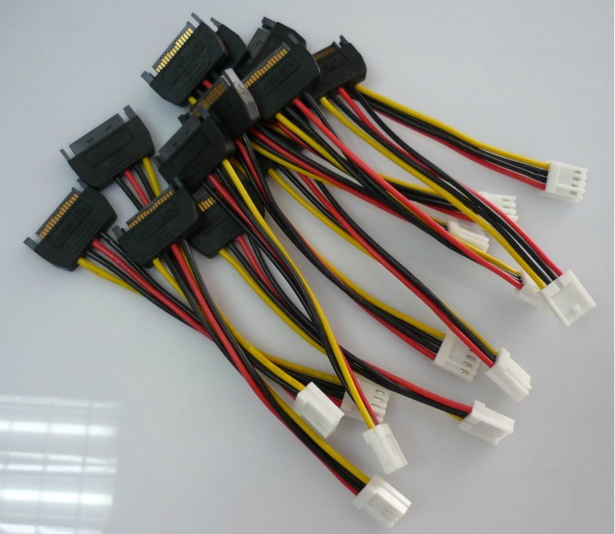 10pcs 15Pin SATA Male to 4Pin FDD Floppy Female Power Cable Lead PC diy