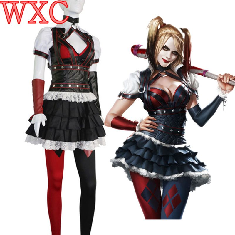 Batman Dark Knight Suit Arkham Harley Quinn Cosplay Costume Party Dress Suit For Adult Women WXC