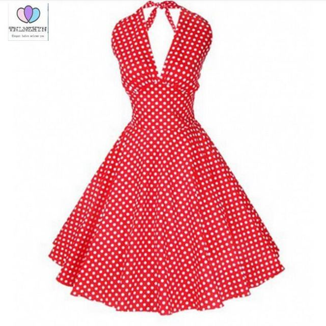 2017 new summer V-neck retro dots sleeveless dress lady casual large cotton multi-color women's dress Q250TNLNZHYN